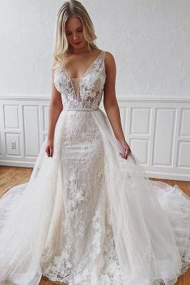Sleeveless V-neck Ivory Chapel-Train Appliques Wedding Dresses | Sheath Beautiful Wedding Gowns_5
