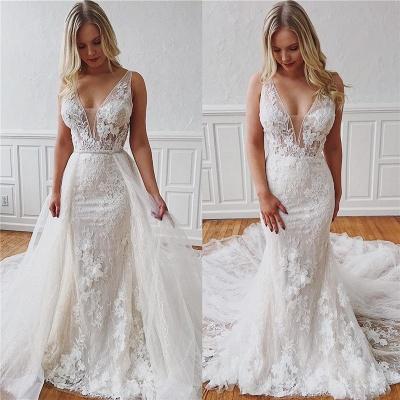 Sleeveless V-neck Ivory Chapel-Train Appliques Wedding Dresses | Sheath Beautiful Wedding Gowns_3