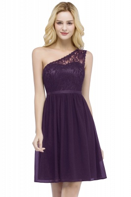 Short Lace One-shoulder Top Chiffon Homecoming A-line Dresses with Sash_2
