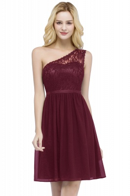 Short Lace One-shoulder Top Chiffon Homecoming A-line Dresses with Sash_1