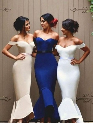 Newest Mermaid Ruffles Off-the-shoulder Long Lace-up Bridesmaid Dress BA2739_2