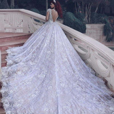 Luxury Lace Ball Gown Wedding Dresses | Cathedral Train Beading Bridal Gowns_3