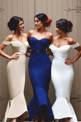 Newest Mermaid Ruffles Off-the-shoulder Long Lace-up Bridesmaid Dress BA2739_3