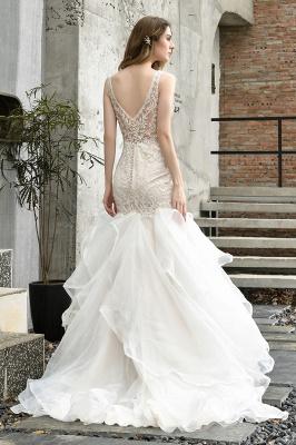 Wholesale Long Mermaid Lace Organza Wedding gowns Ruffles Train_10