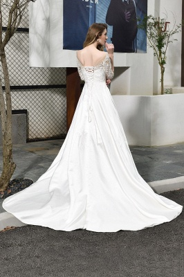 Cheap Lace Half Sleeves V Neck Wedding Gowns Satin with Train_4