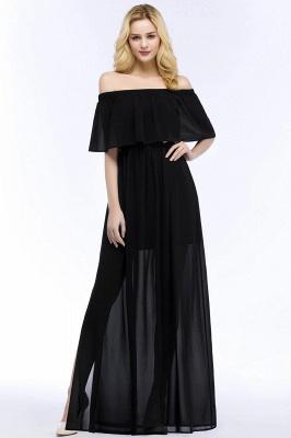Chiffon Off-the-shoulder Length A-line Black Floor Bridesmaid Dresses_2