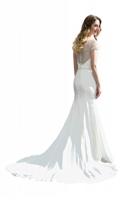 Cheap Short Sleeveless Lace Mermaid White wedding dresses_9