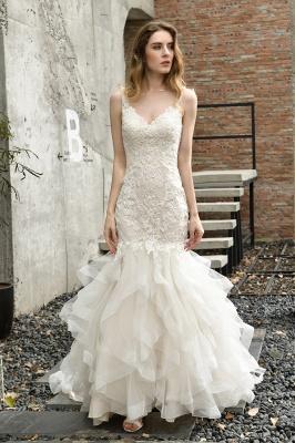 Cheap Floor Length Mermiad Sweetheart Lace Wedding Dresses_7