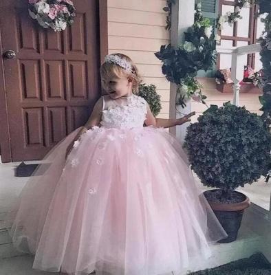 Pink Princess Jewel  Flowers Ball Gown Flower Girl Dresses   Little Girl Party Dress_3
