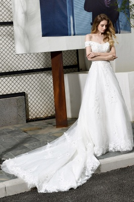 Cheap White Off the Shoulder Lace Beading Mermaid Wedding Gowns_10