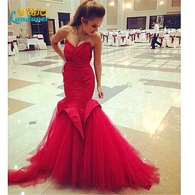 Sexy Red Mermaid Sweetheart Prom Dress 2021 Lace-Up Evening Dress_2