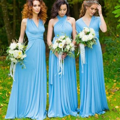 Elegant A-line Covertible Sash Bridesmaid dresses_2