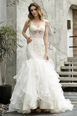 Wholesale Long Mermaid Lace Organza Wedding gowns Ruffles Train