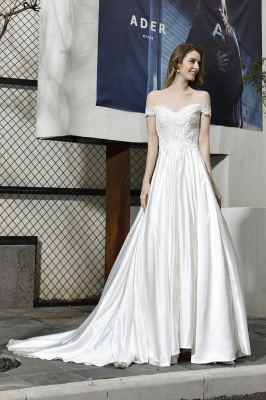 Cheap A Line Off the Shoulder Lace Satin White Wedding Gowns_6
