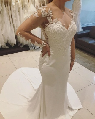 Long-sleeve Graceful V-neck Applique Beaded Mermaid Illusion-back Wedding Dress_3