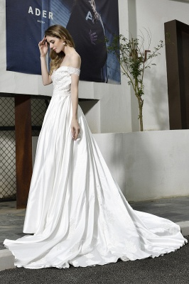 Cheap A Line Off the Shoulder Lace Satin White Wedding Gowns_9