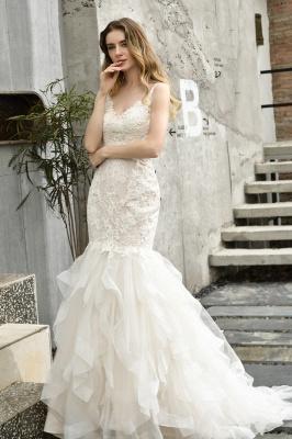 Cheap Floor Length Mermiad Sweetheart Lace Wedding Dresses_13