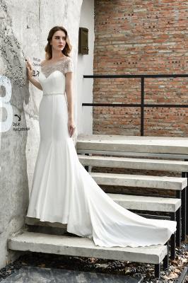 Cheap Short Sleeveless Lace Mermaid White wedding dresses_7