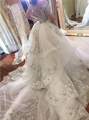 Luxury High Neck Long Sleeves Appliques Tulle Wedding Dresses Detachable Train_7