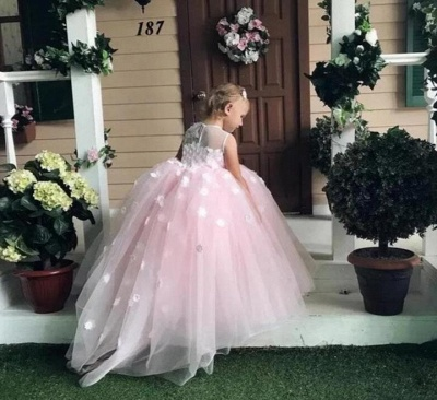 Pink Princess Jewel  Flowers Ball Gown Flower Girl Dresses   Little Girl Party Dress_2