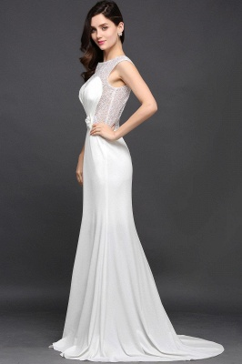 Chic Long Cap Mermaid Sleeve Sheer Jewel Ivory Evening Dresses_4