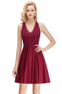 Cheap A-Line Homecoming Dresses | Sexy Lace Beading Short Chiffon Cocktail Dresses_2