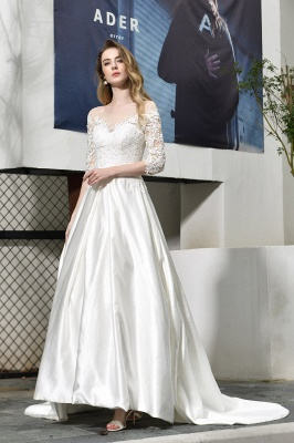 Cheap Lace Half Sleeves V Neck Wedding Gowns Satin with Train_5