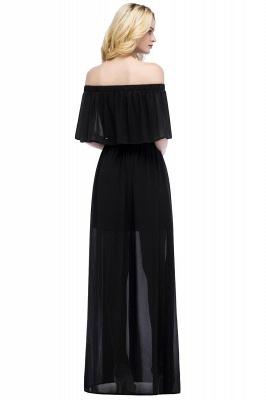 Chiffon Off-the-shoulder Length A-line Black Floor Bridesmaid Dresses_4