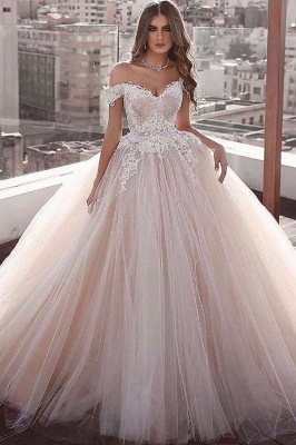 Off-the-shoulder Sweetheart Ball-gown Beading Applique Wedding Dress_1