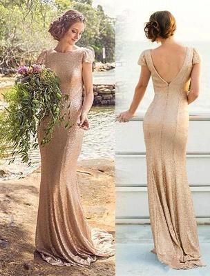 Zipper Short-Sleeve Elegant Long Sequined Bridesmaid Dresses_3