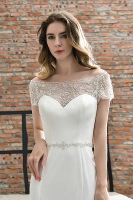 Cheap Short Sleeveless Lace Mermaid White wedding dresses_8