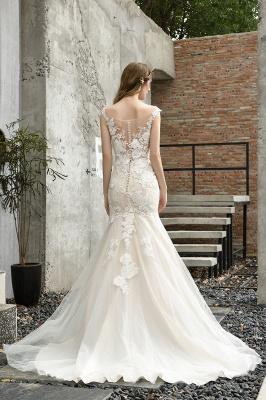 Gorgeous Floor Length  Lace Tulle Wedding Dresses Mermaid_11