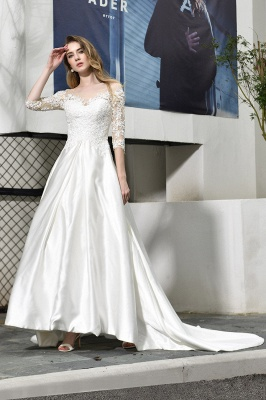 Cheap Lace Half Sleeves V Neck Wedding Gowns Satin with Train_2