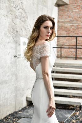 Cheap Short Sleeveless Lace Mermaid White wedding dresses_12