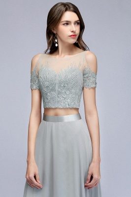 A-Line Appliques Silver Exquisite Chiffon Two-Pieces Bridesmaid Dresses_5