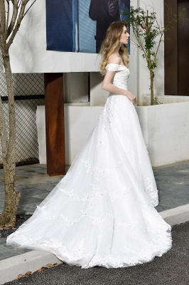 Cheap White Off the Shoulder Lace Beading Mermaid Wedding Gowns_2