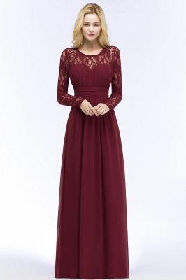 Floor Lace Length Long A-line Sleeves Chiffon Bridesmaid_6