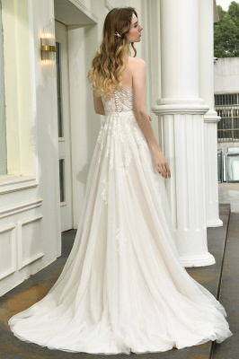 Sexy One Shoulder Lace Tulle Wedding Dresses Open Back_12