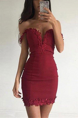 Short Appliques Sheath Sexy Off-the-shoulder Burgundy Homecoming Dress_2