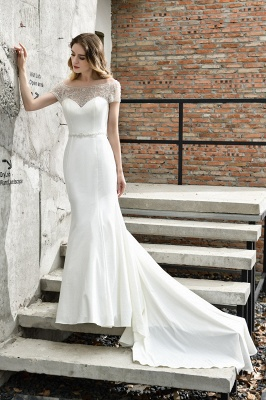 Cheap Short Sleeveless Lace Mermaid White wedding dresses_4