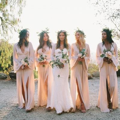Sheath Slit V-neck Flare-long-sleeve Floor-length Bridesmaid Dress_2