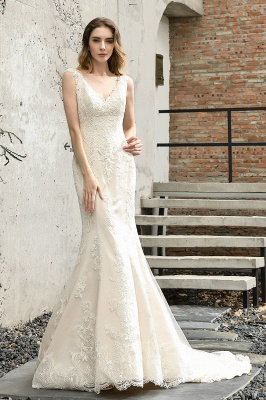 Cheap Long Lace Wedding Dresses Backless Floor Length Straps Online