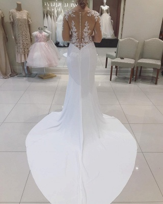 Long-sleeve Graceful V-neck Applique Beaded Mermaid Illusion-back Wedding Dress_2