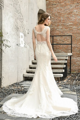 Cheap Long Lace Wedding Dresses Backless Floor Length Straps Online_3