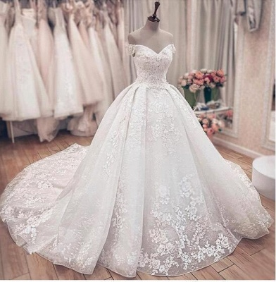 Off The Sholder  Sweetheart Applique Beaded Ball Gown Wedding Dresses_4