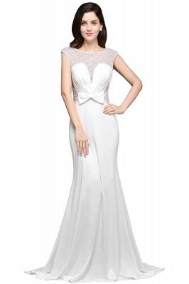Chic Long Cap Mermaid Sleeve Sheer Jewel Ivory Evening Dresses_5