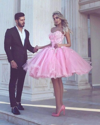 Pink Ball-Gown Appliues Sweetheart-Neck Short Homecoming Dresses_3