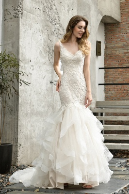 Cheap Floor Length Mermiad Sweetheart Lace Wedding Dresses
