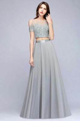 A-Line Appliques Silver Exquisite Chiffon Two-Pieces Bridesmaid Dresses_4