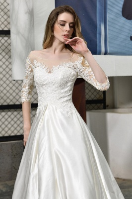 Cheap Lace Half Sleeves V Neck Wedding Gowns Satin with Train_9